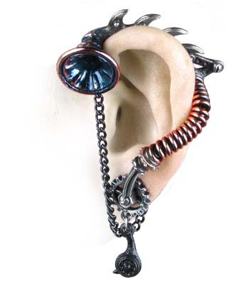 His Master's Voice Ear-Trumpet Stud Earring by Alchemy Gothic, England