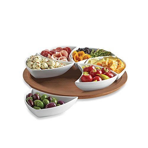 B. Smith Lazy Susan Swirl Server, 6 Pieces Division Tray, Perfect for Salad, Chips (Turntable Elemental compare prices)