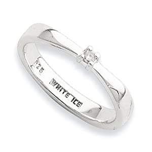 White Ice - .925 Silver Rhodium Finish 0.03CT Genuine Diamond Ring Size 7