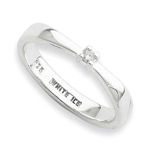 Sterling Silver White Ice .03ct. Diamond Ring (Size 6)