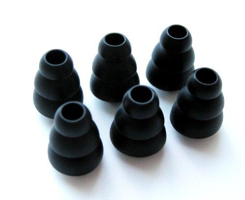 6 Klein (S) Schwarz Weich Dreifach Flansch Ersatz Ohrstöpsel Ohreinsätze Set für AKG von Harman : K324P, K321, K328, K330, K340, K350, K374, K375, K390, K391 NC, Q350 In-Ear Ohrhörern