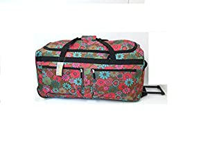 "FunkyTravelbags 32"" Extra Large Brown Flower Wheeled Holdall Holiday Luggage Weekend Travel Bag"