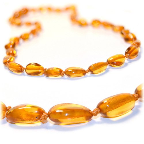 Certified Baltic Amber Teething Necklace for Baby (honey bean) - Anti-inflammatory ... - 1