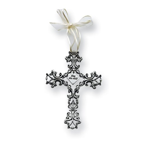 White Ribboned Bless this Child Filigree Cross