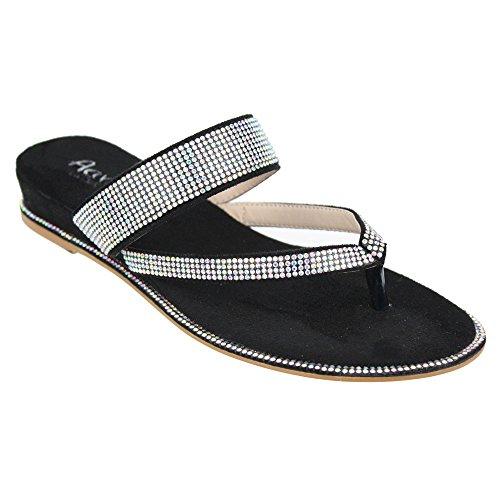 Aarz Women Ladies Evening Casual Comfort Flat Diamante Slipper Shoes Size (BlackBlueRed ...
