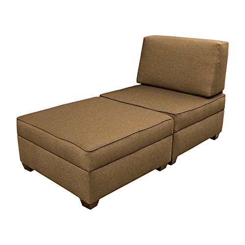 duobed Convertible Chaise Lounge-to-Twin Bed, Mocha Furniture Ottomans ...
