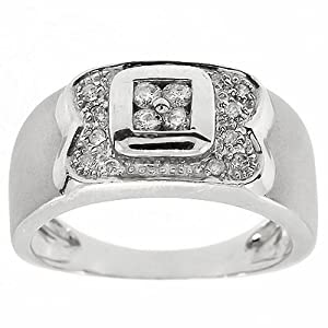 0.23CT F-G VS-SI round cut Diamond cocktail, right hand ring in 14k white gold