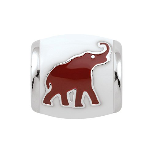 Persona Sterling Silver University of Alabama Crimson Elephant White Bead Charm