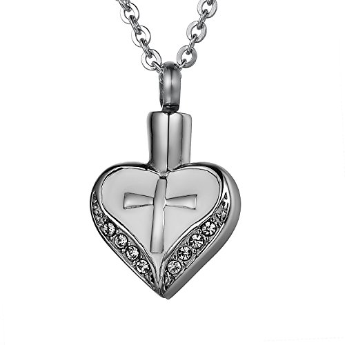 COCO Park Cross Love Heart with Crystal Stainless Steel Urn Pendant Necklace Ash Memorial Keepsake Cremation Jewelry (Bracelet Urns For Human Ashes compare prices)