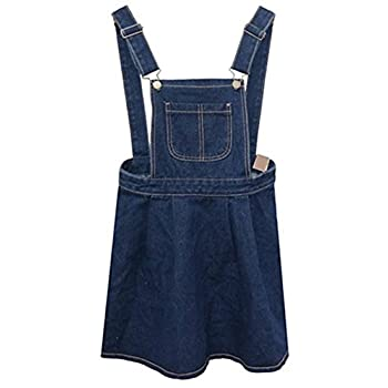 AnVei-Nao Womens Girls Retro Denim Jeans Slim Overalls Casual Ruffle Strap Dress
