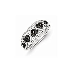 Sterling Silver Black & White Diamond Ring, Size 7, (0.5 ctw, I1-I2 Clarity), Jewelry Rings for Women