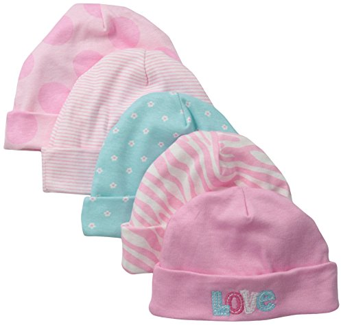 Gerber Baby-Girls Newborn 5 Pack Caps-Polka Dots, Pink, 0-6 Months (Newborn Cap compare prices)