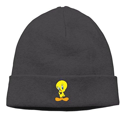 deto-menswomens-tweety-bird-patch-beanie-runningblack-caps-hats