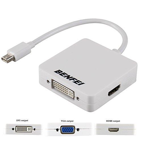 Mini DP(Thunderbolt) to HDMI DVI VGA Adapter, Benfei Mini Displayport(Display Port) to HDMI DVI VGA Converter for MacBook, iMac(LG51) Surface Pro Dell Surface Pro(1 Year Warranty) (Mini Display Dvi Adapter compare prices)