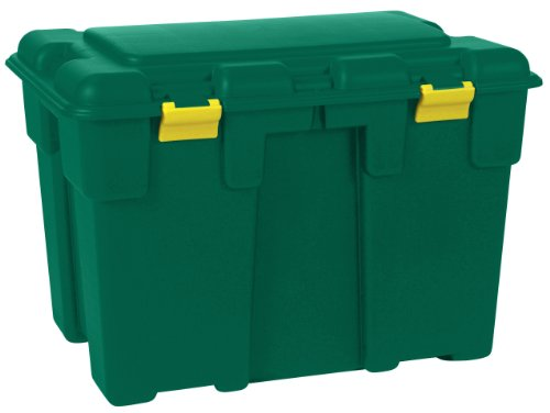 Huge 185 Litre Explorer Green Plastic Storage Trunk with Big Hinged Lid. Heavy Duty Container Kids Toy Box, Garden, Garage or Shed.