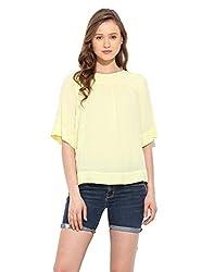 Saiesta Women's Lemon Yellow Loose Fit Boho Top