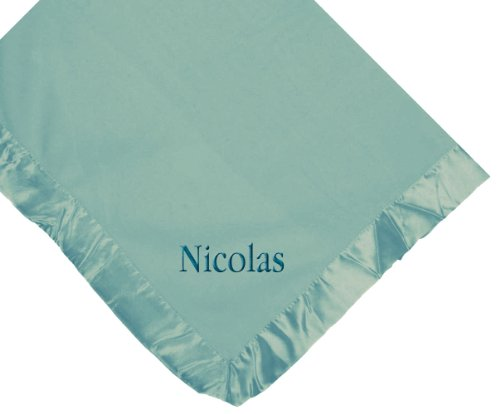 Custom Embroidered Monogrammed Boy Name Blue Fleece Personalized Baby Blanket Yellow Thread front-409156
