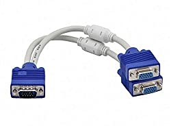BEcom VGA Y SPLITTER CABLE 2 MONITORS TO 1 PC VGA Cable Adapter for Same Double Display