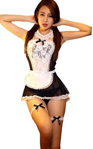 GOOD FOR U 2014 Damen Sexy Dessous Sexy Frauen Französisch Maid Kostüme Weihnachten Kostüme Erotische Dessous Cosplay weiss, schwars, S-M