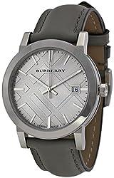 Burberry Light Grey Dial Grey Leather Ladies Watch BU9036