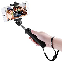 Poweradd 2nd Gen Bluetooth Selfie Stick Self-portrait Monopod with Built-in Remote Shutter for iPhone 6s Plus / 6 Plus / 6s / 6 / 5s / 5c / 5 / 4s, Android, Samsung, LG, HTC, Nexus and More - Black