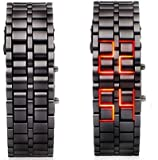 Mens Black Metal Band Iron Lava Samurai Style Wrist Watch Faceless Japanese Inspired Red LED-BKRD