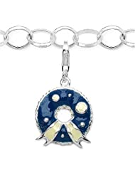 3.10 Grams Rhodium Plated .925 Sterling Silver Blue & White Enamel Charm Bracelet