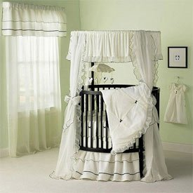 Sherbert Round Crib Bedding Set - Color: Ecru