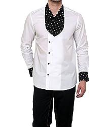 Dazzio Men's Slim Fit Cotton Casual Shirt (DZSH0115_Grey_38)