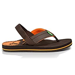 Sanuk Kids Straight Shot Boys Flip Flop (Toddler/Little Kid/Big Kid),Brown,8-9 M US Little Kid