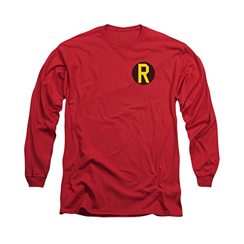 Batman DC Comics Superhero Robin Costume R Logo Adult Long-Sleeve T-Shirt