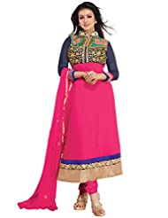 Alethia Blue & Pink Color Party Wear Embroidered Georgette Semi-Stitched Anarkali