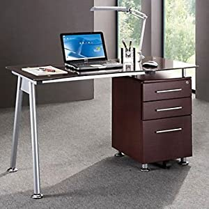 Amazon.com : Techni Mobili Glass Computer Desk with File Cabinet : Office Products