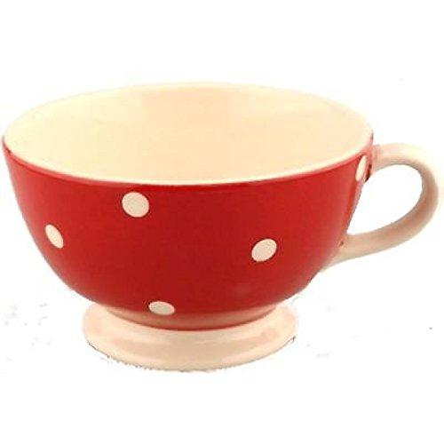XXL Tasse Jumbo Becher Müslischale Suppenschüssel Riesentasse Keramik rot Punkte