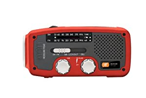 Etón NFR160WXR Microlink Self-Powered AM/FM/NOAA Weather Radio with Flashlight, Solar Power and Cell Phone Charger (Red)