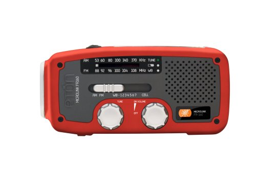 Etón FR160R Microlink Self-Powered AM/FM/NOAA Weather Radio with Flashlight, Solar Power and Cell Phone Charger (Red)