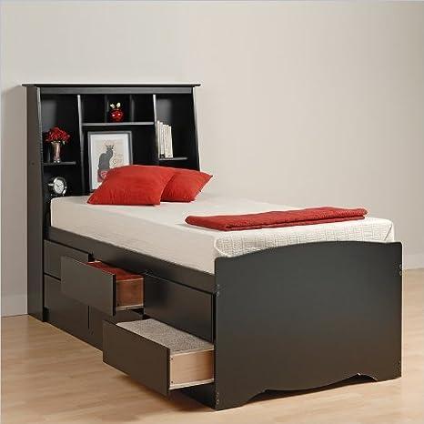 Prepac Black Sonoma Tall Twin Bookcase Platform Storage Bed