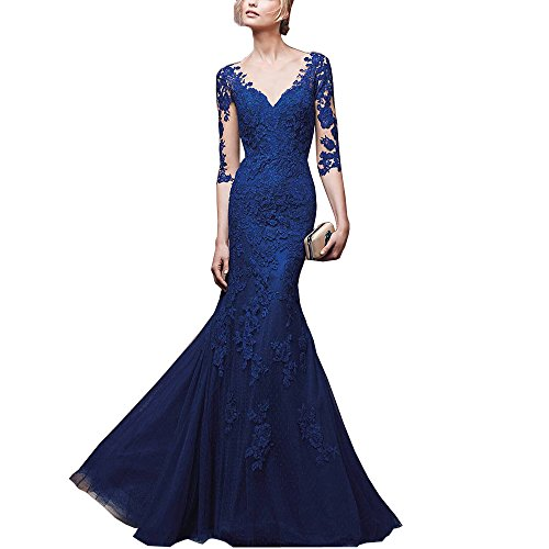 Abaowedding-Womens-Blue-Deep-V-Long-Sleeves-Mermaid-Prom-Evening-Dresses
