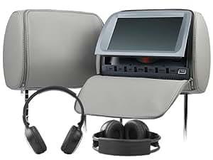 "Auto C1005 Grau 2x 9"" 23cm Kopfstützen Monitor mit DVD Player für KFZ DVB-T TV + 2 x IR Kopfhörer"
