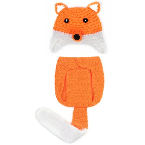 JTC Baby Newborn Suit Photography Props Outfit Fox Cap and Short Pant Set 0-6M