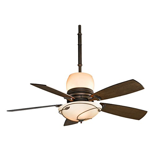 Fanimation HF7200BZ Hubbardton Forge Leaf Ceiling Fan with 5 Coffee Blades, Stone Glass Uplight/Downlight, Bronze Finish