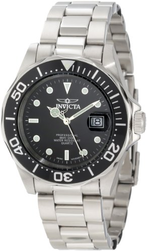 Invicta Men's Swiss Pro Diver Q 9307 Silver Stainless-Steel Quartz Watch with Black Dial