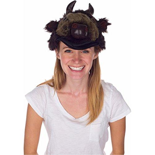 Rittle Furry Buffalo (Bison) Animal Hat, Realistic Plush Costume Headwear, 1 Size