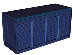 kissenbox auflagenbox gartenbox 300l 117x45x58cm kunststoff blau garten. Black Bedroom Furniture Sets. Home Design Ideas