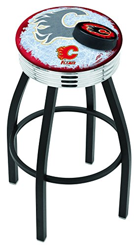 "Holland Bar Stool NHL Officially Licensed L8B3C Calgary Flames Swivel Bar Stool, 30"", Black"
