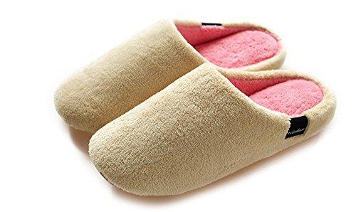 Kiss Gold(Tm) Soft Warm Coral Velvet House Slippers For Winter (M-Beige)