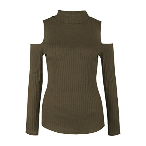 HowFitU Womens Thin Turtleneck Knitted Slim Solid Color Sweater Tops