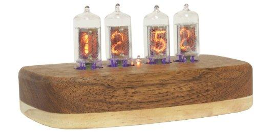 Compact Nixie Tube Clock Kit, Zm Tubes, Teak Hardwood Base