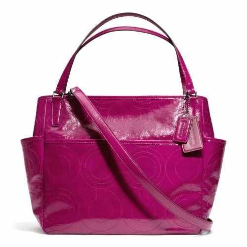 COACH Stitched Patent Multifunction Tote / Baby Bag in Silver / Deep Port 25141