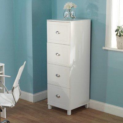 Bradley 4-Drawer Filing Cabinet Finish: Antique White front-571209
